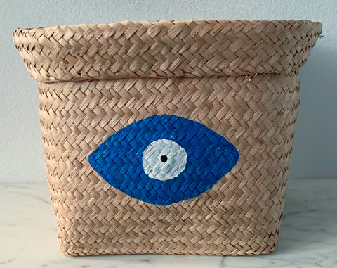 Seagrass Basket with Royal Blue Evil Eye