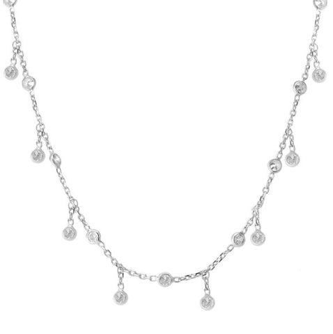 Chain Droplet Necklace in Sterling Silver