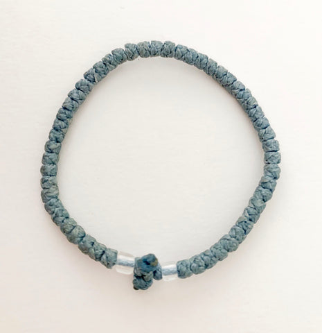 Pale Grey/Blue Komboskini with Clear Beads