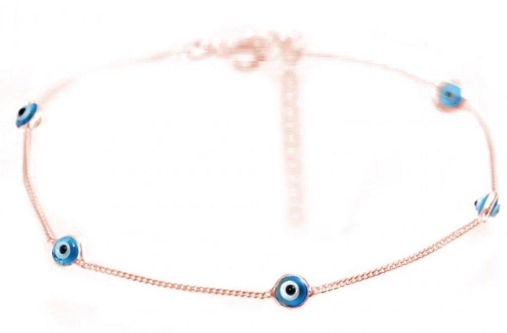 Eye Chain Anklet in Sterling Silver