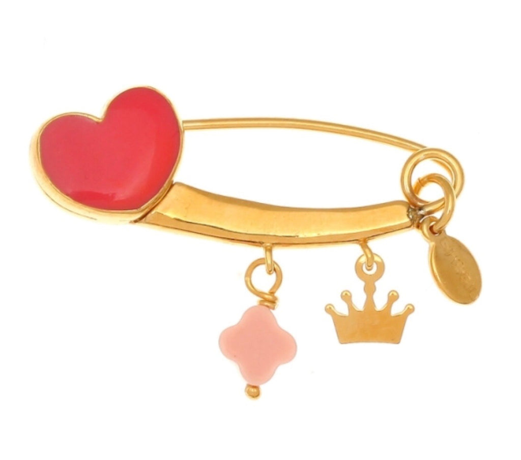 Love Heart Pin in Coral Pink and Gold