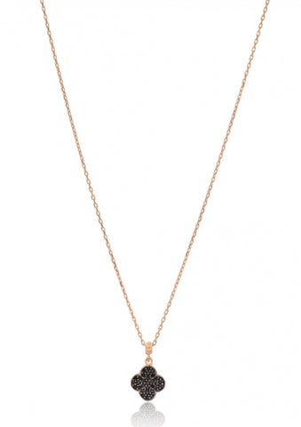 Black Diamond Clover Necklace in Rose Gold