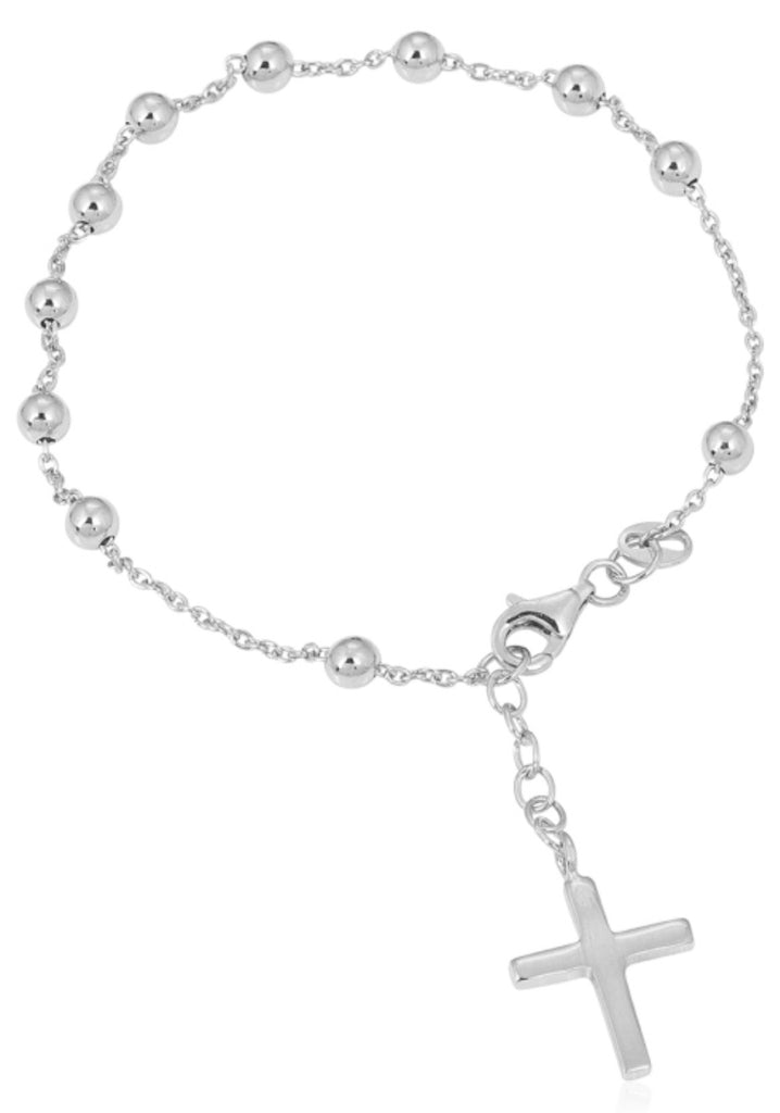 Rosary Bead Bracelet in Sterling Silver