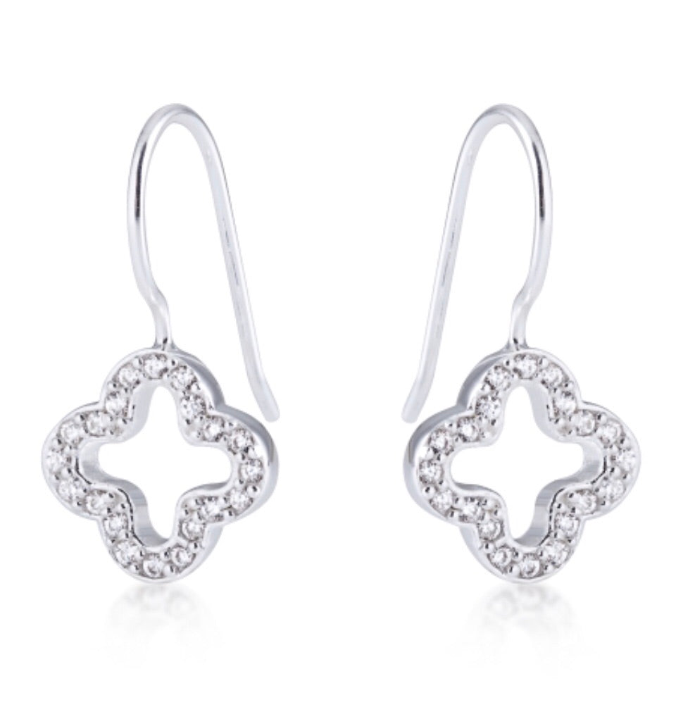Clover Drop Earrings in Sterling Silver