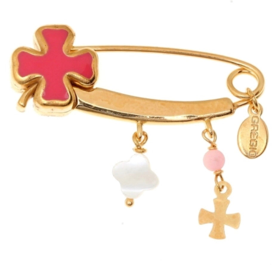 Cross Pin in Coral Pink and Gold