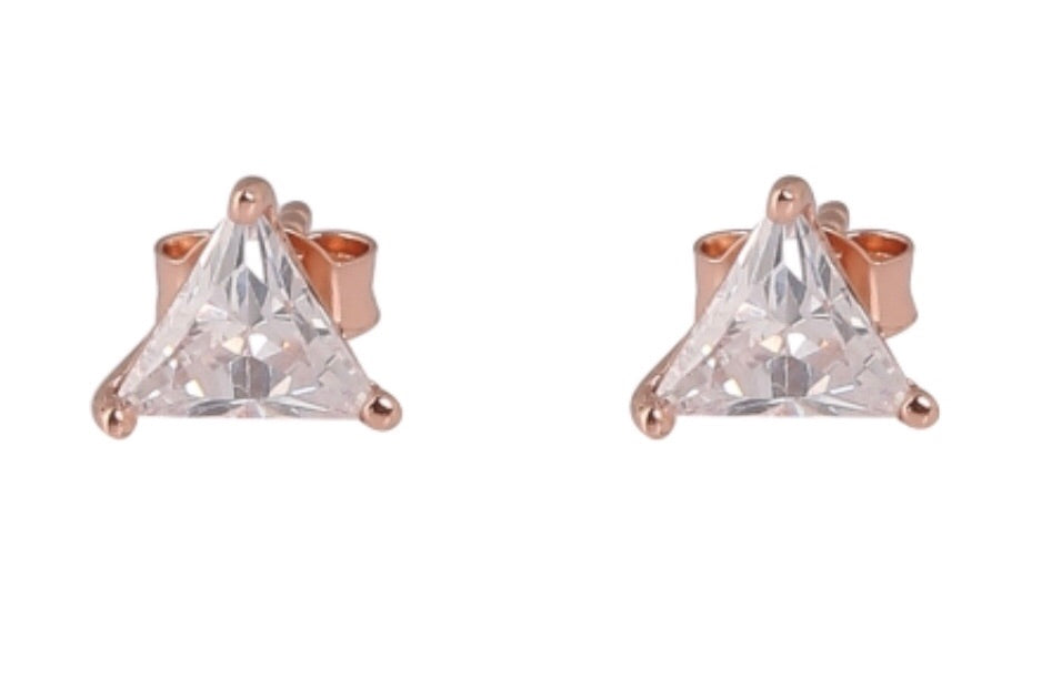 Diamonte Triangle 6mm Stud Earrings in Sterling Silver