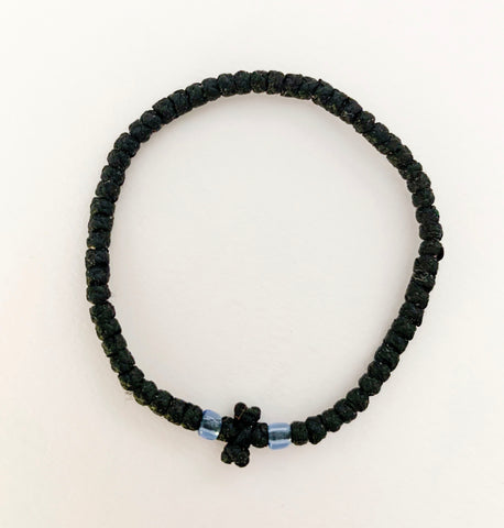 Black Komboskini with Clear Pale Blue Beads