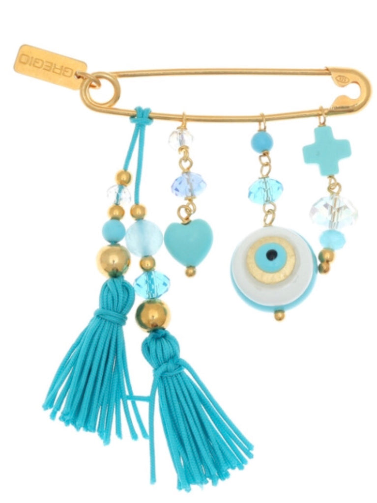 Blue Pin with Hanging Charms (Genesis) in Gold