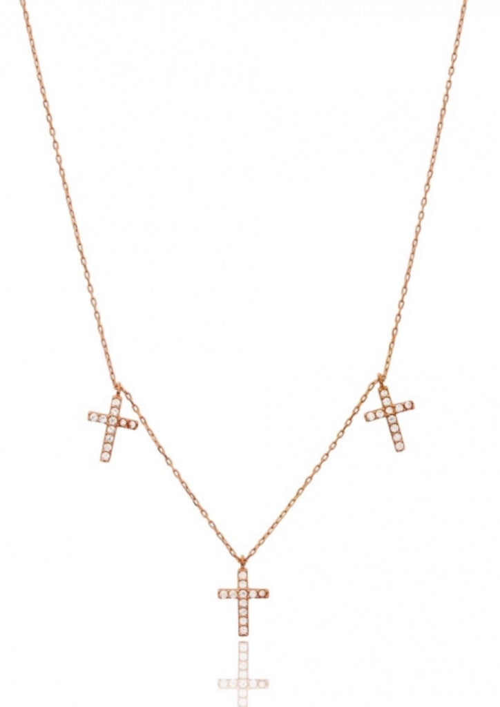 Trio Cross Necklace in Rose Gold