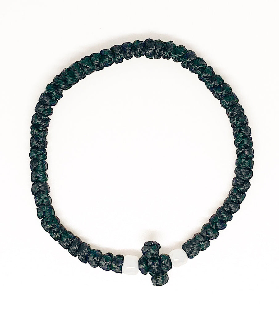 Black Komboskini with White Beads