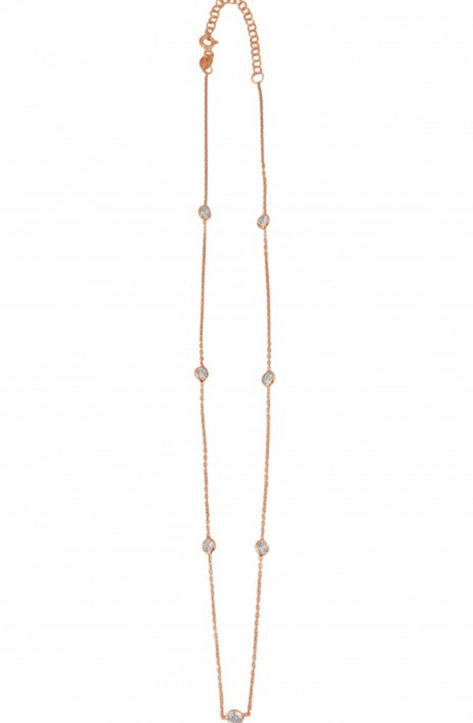 Diamonte Chain Necklace in Rose Gold