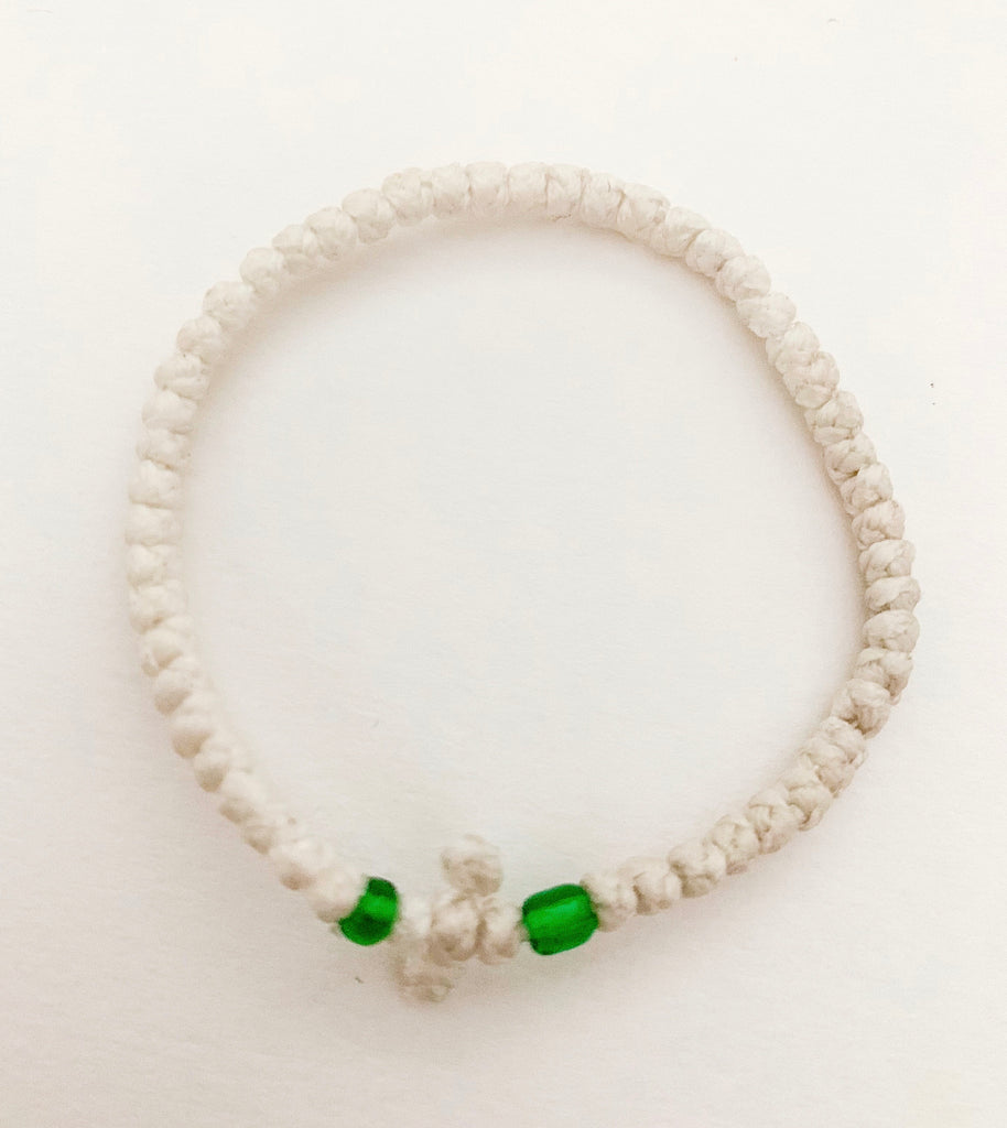 White Komboskini with Green Beads