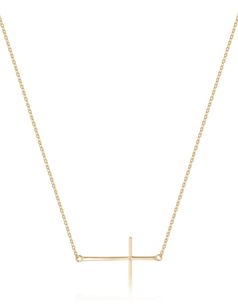 Side Plain Cross Necklace in Rose Gold