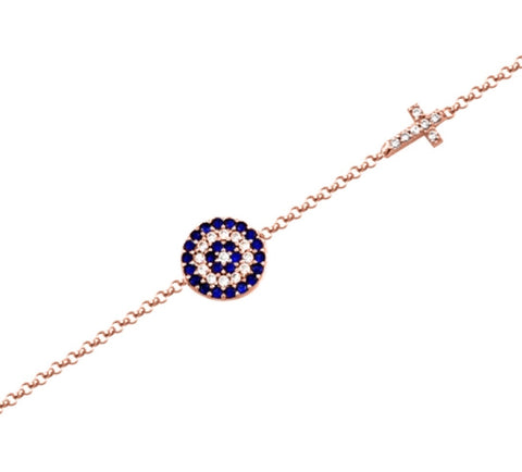 Big Eye and Cross Bracelet in Rose Gold