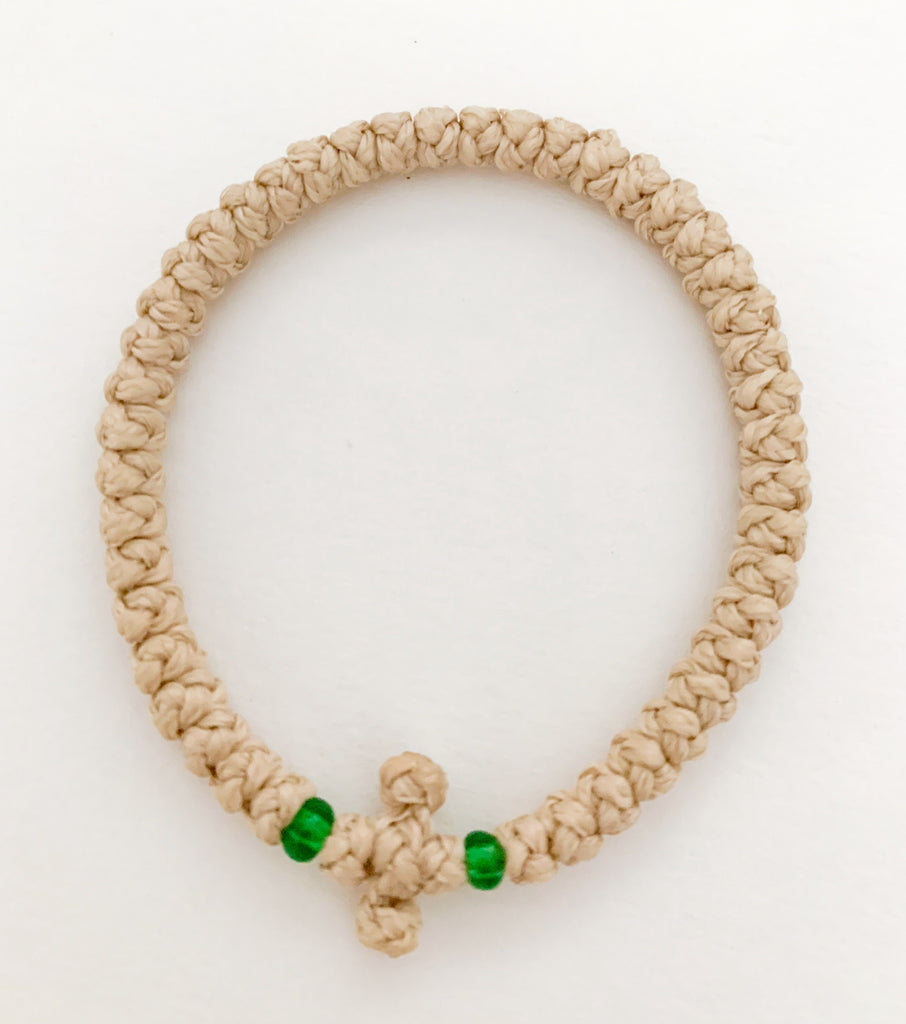 Nude Komboskini with Green Beads