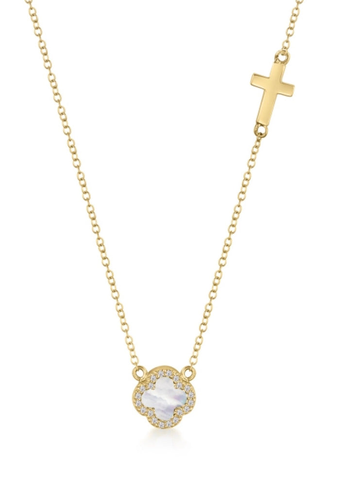 Mother of Pearl Clover & Cross Necklace in Gold