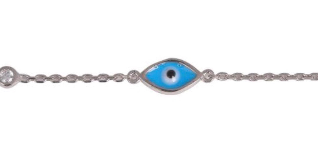 Blue Eye and Diamonte Bracelet in Sterling Silver