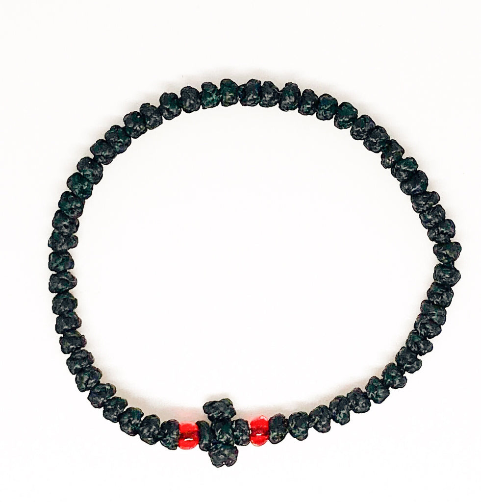 Black Komboskini with Red Beads