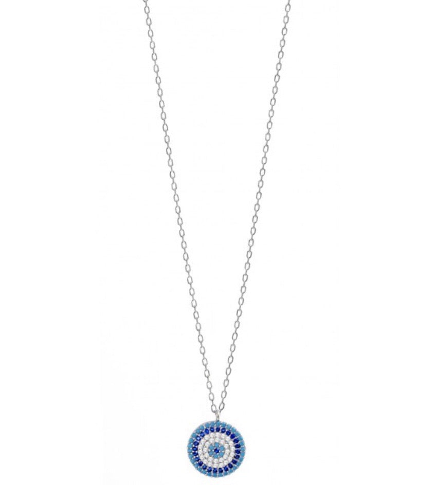 Greek Blue Evil Eye Necklace in Sterling Silver