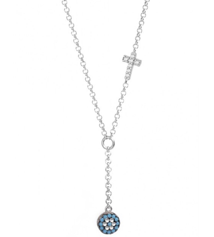 Nano Evil Eye Drop Necklace with Cross in Rose Gold