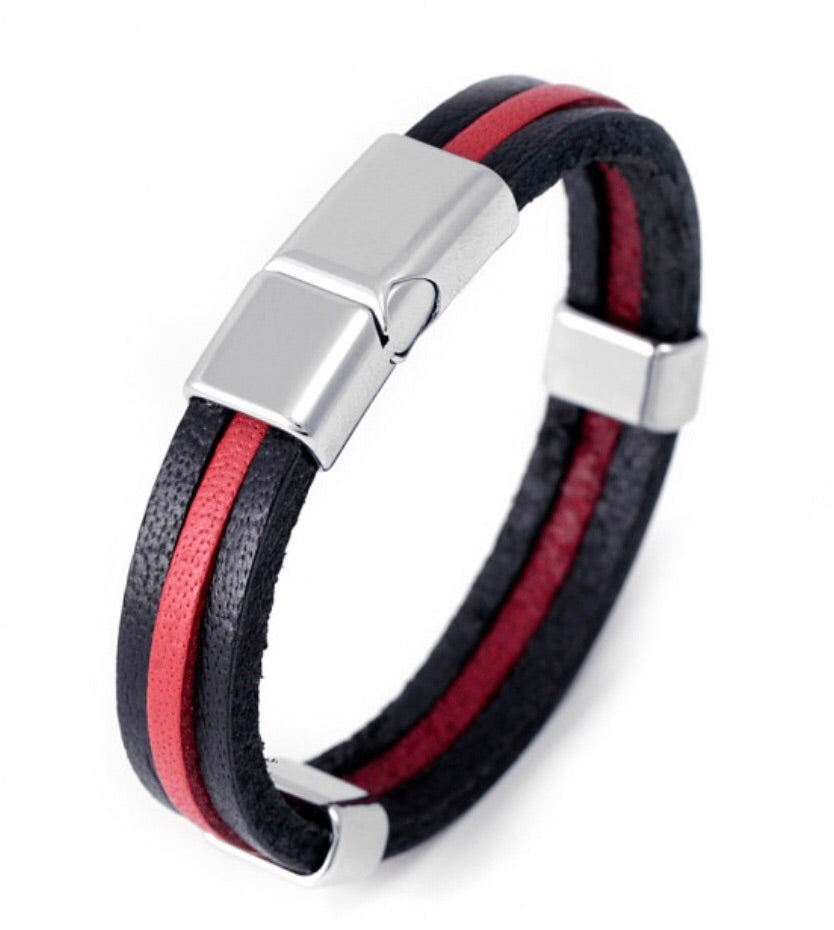 Red and Black Leather Men's Bracelet