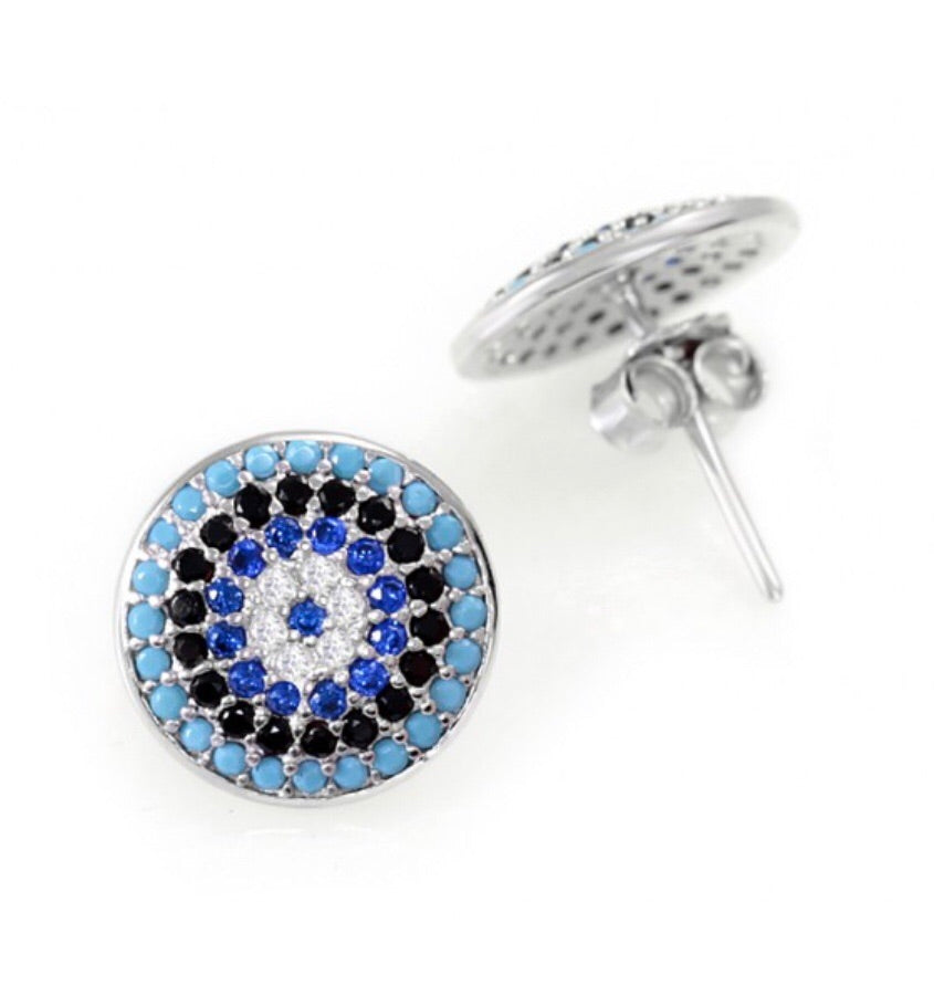 Greek Blue Evil Eye Earrings