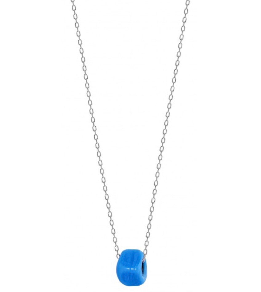 Blue Bead Necklace in Sterling Silver (40cm chain)