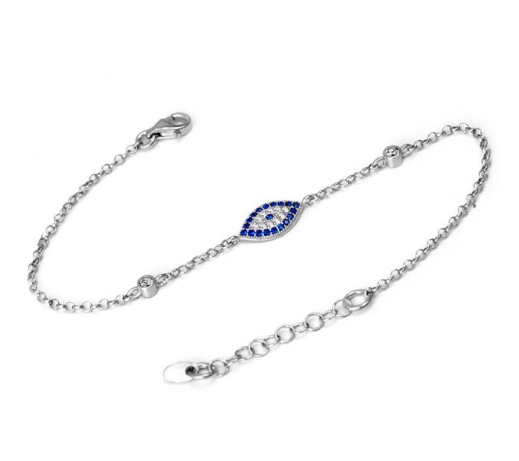 Slant Evil Eye Bracelet in Sterling Silver