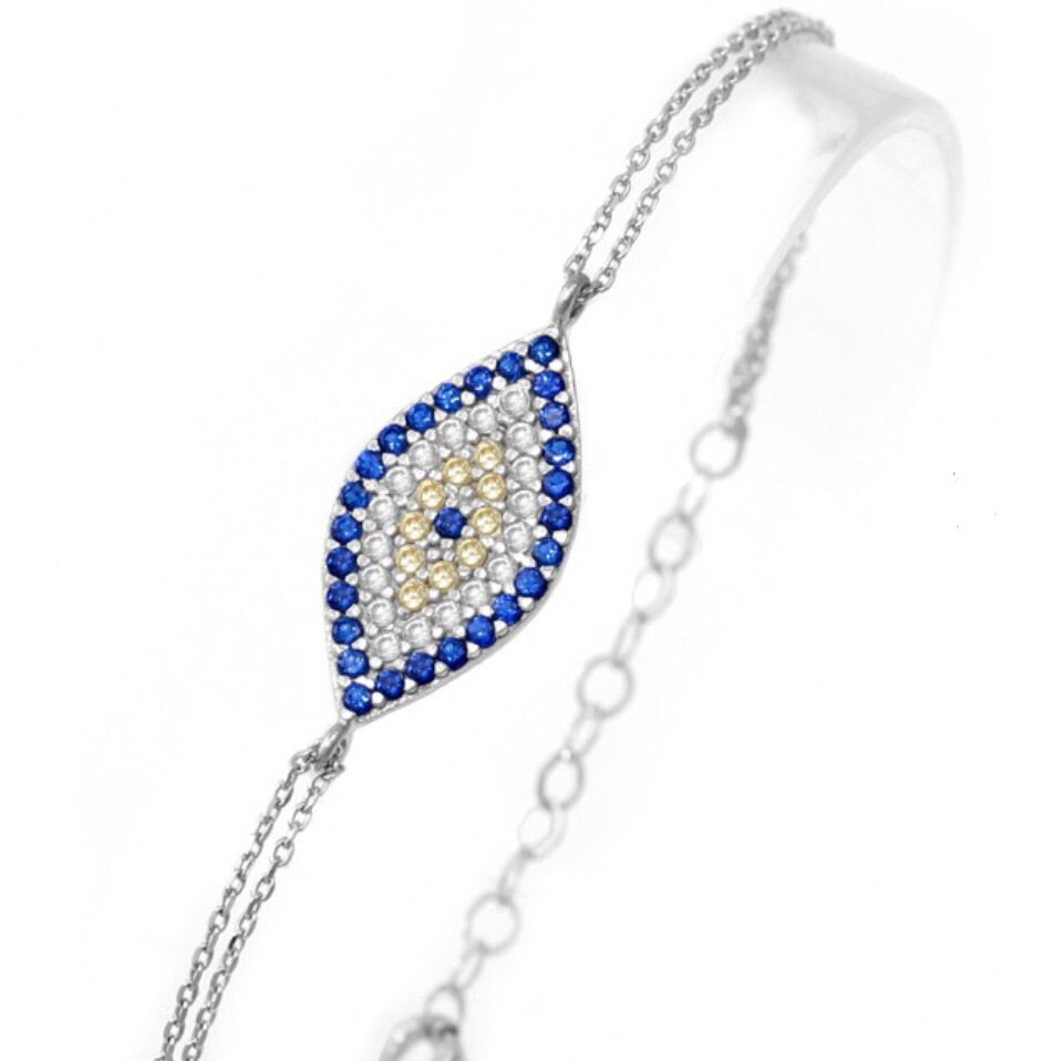 Large Slant Evil Eye Bracelet in Sterling Silver