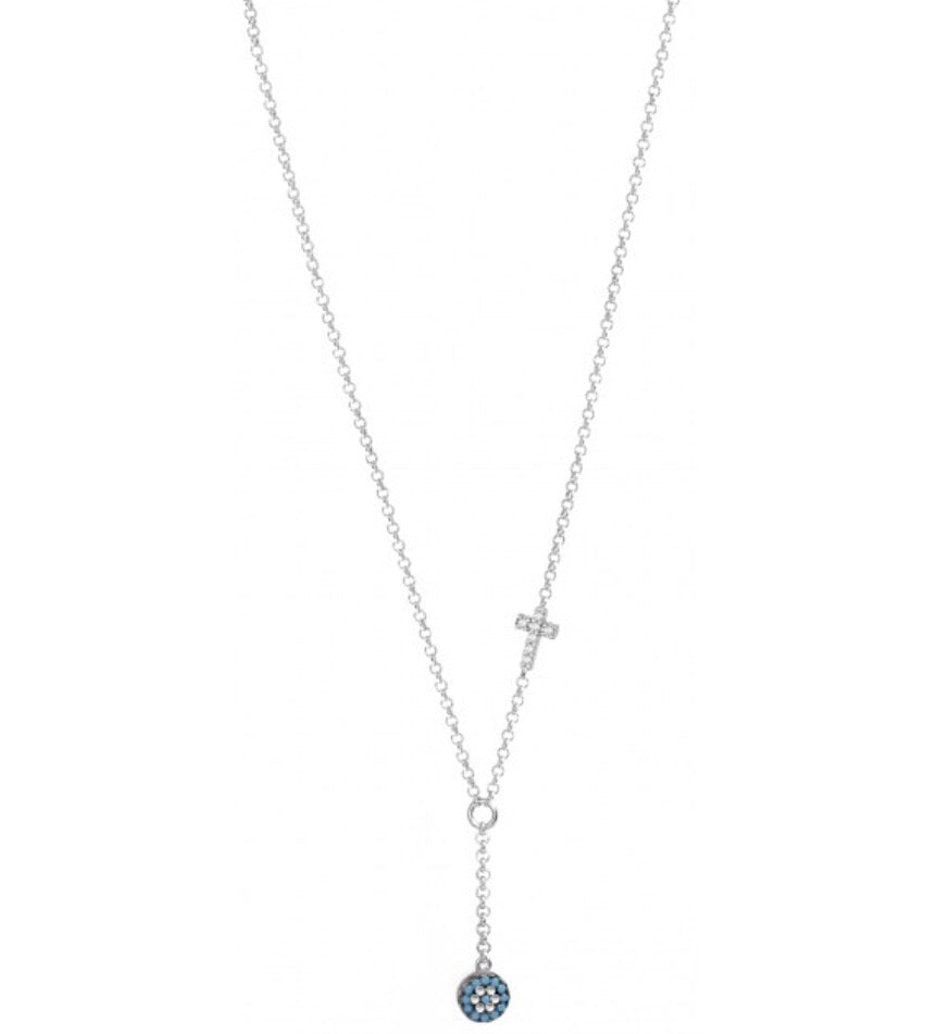 Nano Evil Eye Drop Necklace with Cross in Sterling Silver