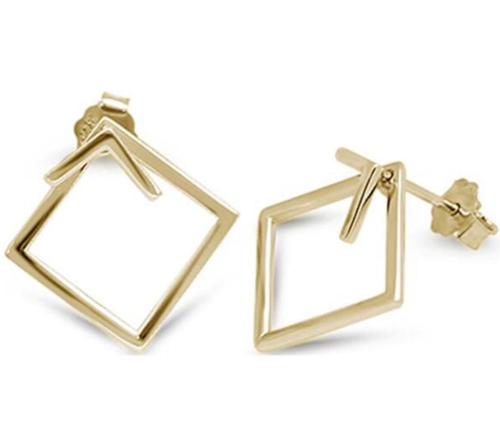 Box Earrings in Gold