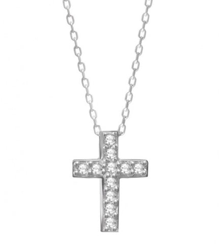 Celebrity Cross Necklace in Sterling Silver