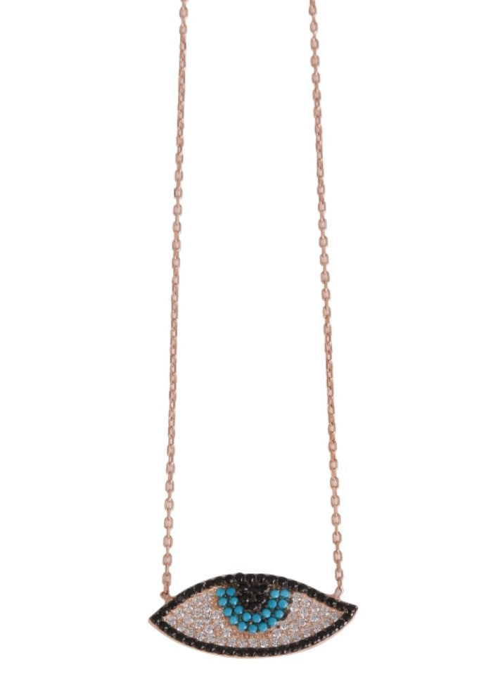 New Age Slant Eye Necklace in Rose Gold