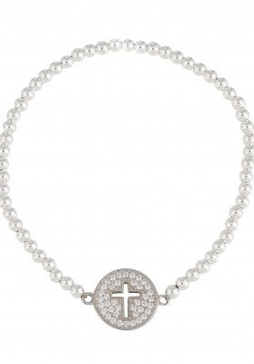 Circle Cut Out Cross Beaded Bracelet in Sterling Silver