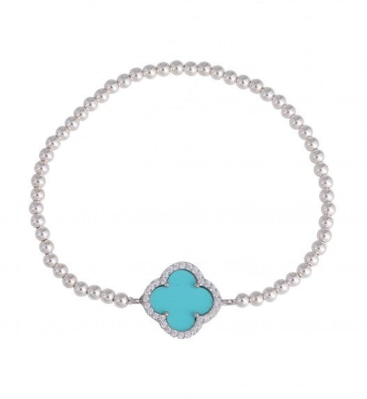Summer Diamond Beaded Bracelet in Turquoise and Rose Gold