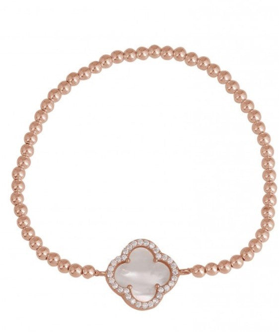 Summer Diamond Beaded Bracelet in Mother Of Pearl and Rose Gold