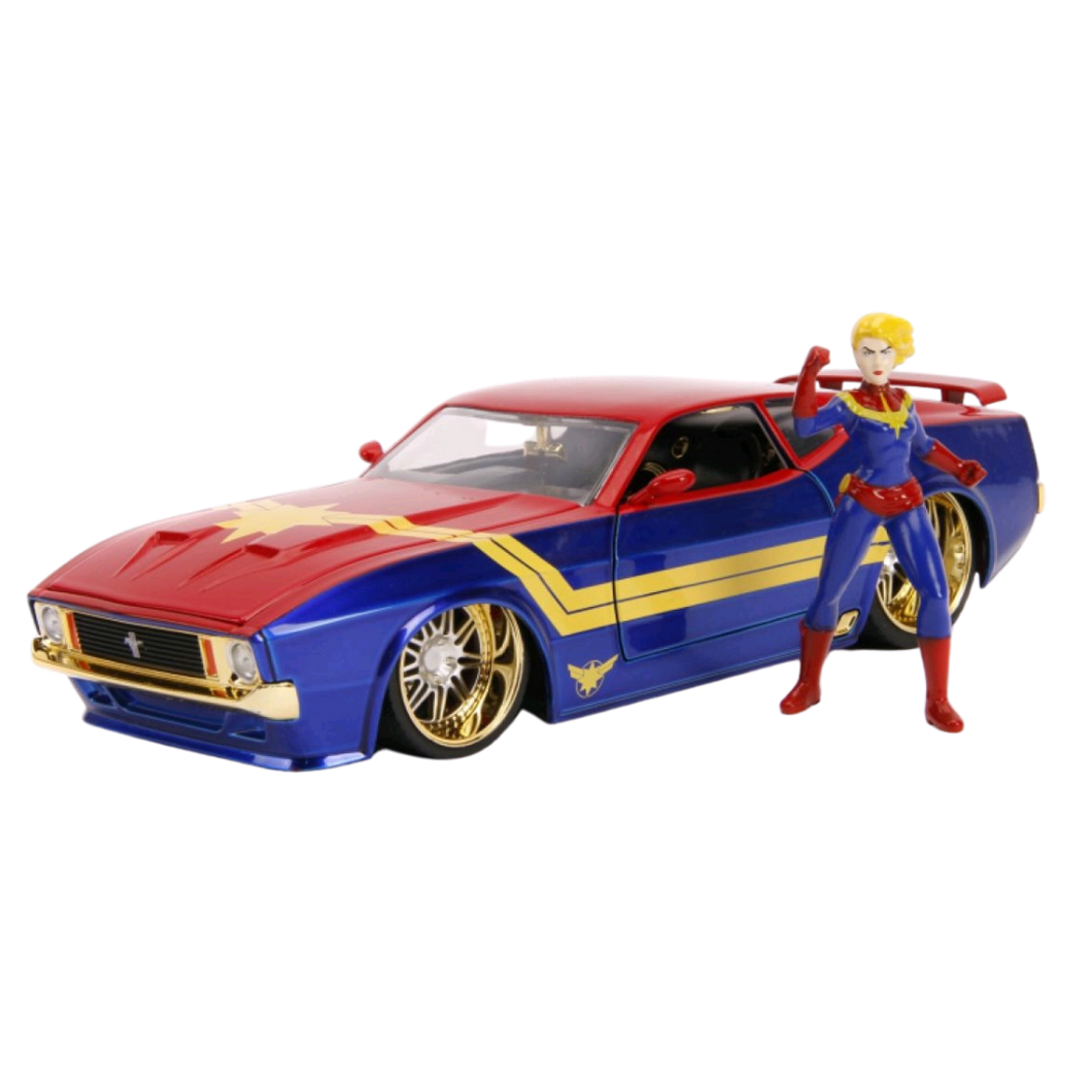 Car - 1:24 Scale Hollywood Ride - Captain Marvel - 1973 Ford Mustang Mach 1