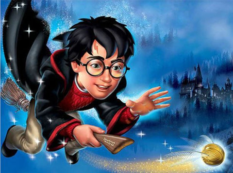 Diamond Art Kit - Harry Potter on Broomstick 30 x 40cm Full Square Drill