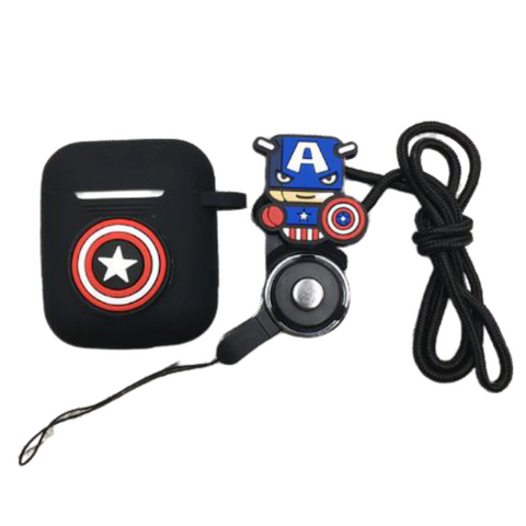 AirPod Case - Silicon - Captain America with strap