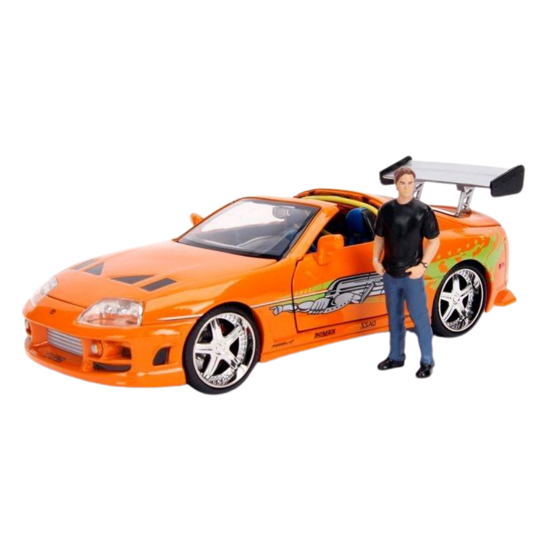 Car - Hollywood Rides 1:24 Scale Diecast Vehicle - Fast & Furious - Brian with 1995 Toyota Supra
