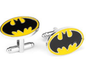 Cufflinks - Batman - Black Logo on yellow