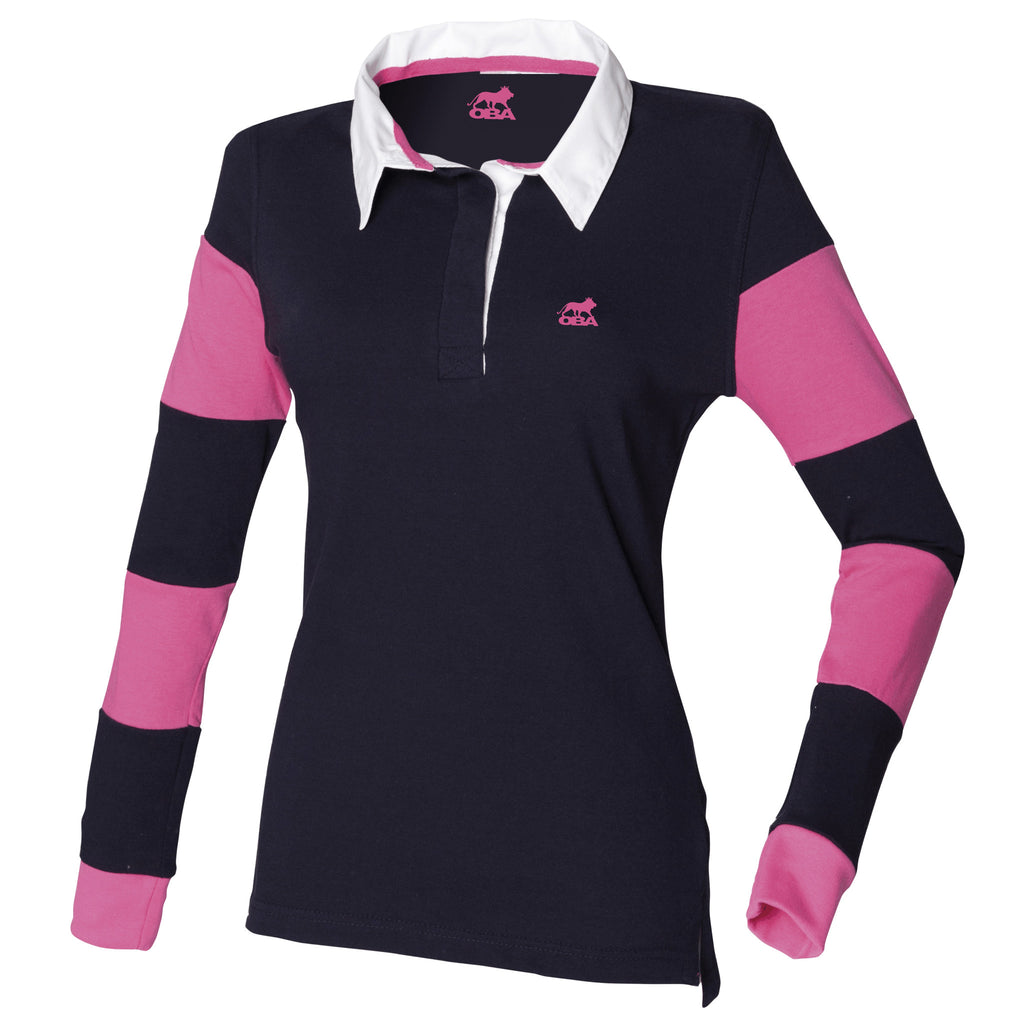Striped sleeve rugby shirt