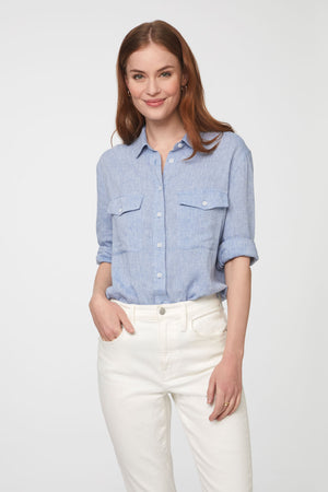 Women's Blue Long Sleeve Button Up with Front Pockets