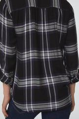Back details of black and white plaid, Long Sleeve Collared V-Neck Shirt with Wrap Silhouette and Elastic Bottom Hem