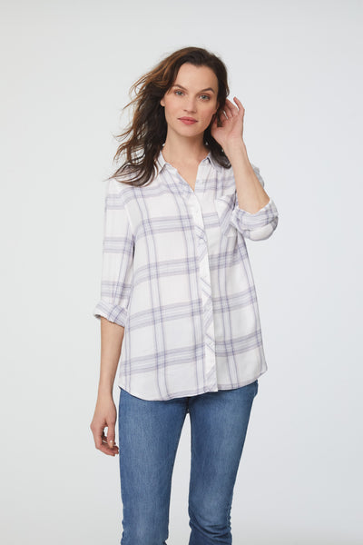 blue and white plaid shirt womens