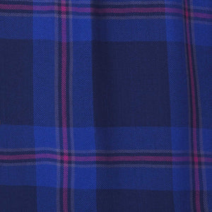 indigo plaid with magenta accent fabric