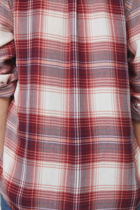 Back of dusty crimson red plaid shirt
