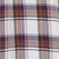 white and copper plaid fabric