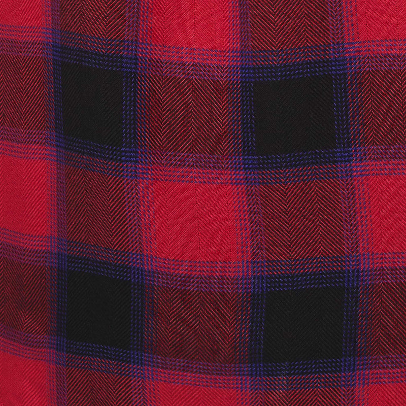 red and black plaid fabric with navy accents