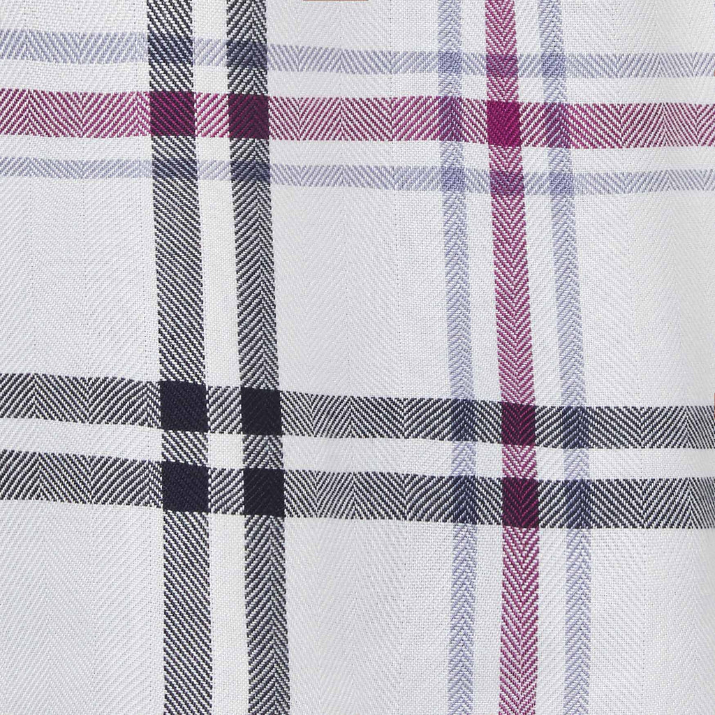 white, black and purple plaid